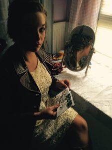 Sarah Moliski in Ralph Lauren suede coat and Forever 21 lace dress