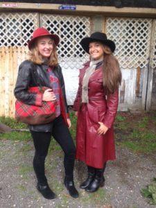 Tess Warren in vintage Jordache Leather Coat and Dooney & Bourke Bag - Sarah Moliski in Vintage Red Leather Coat