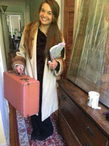 Sarah Moliski with 1949 Pink Leather Suitcase and vintage Cashmere & Mink Coat
